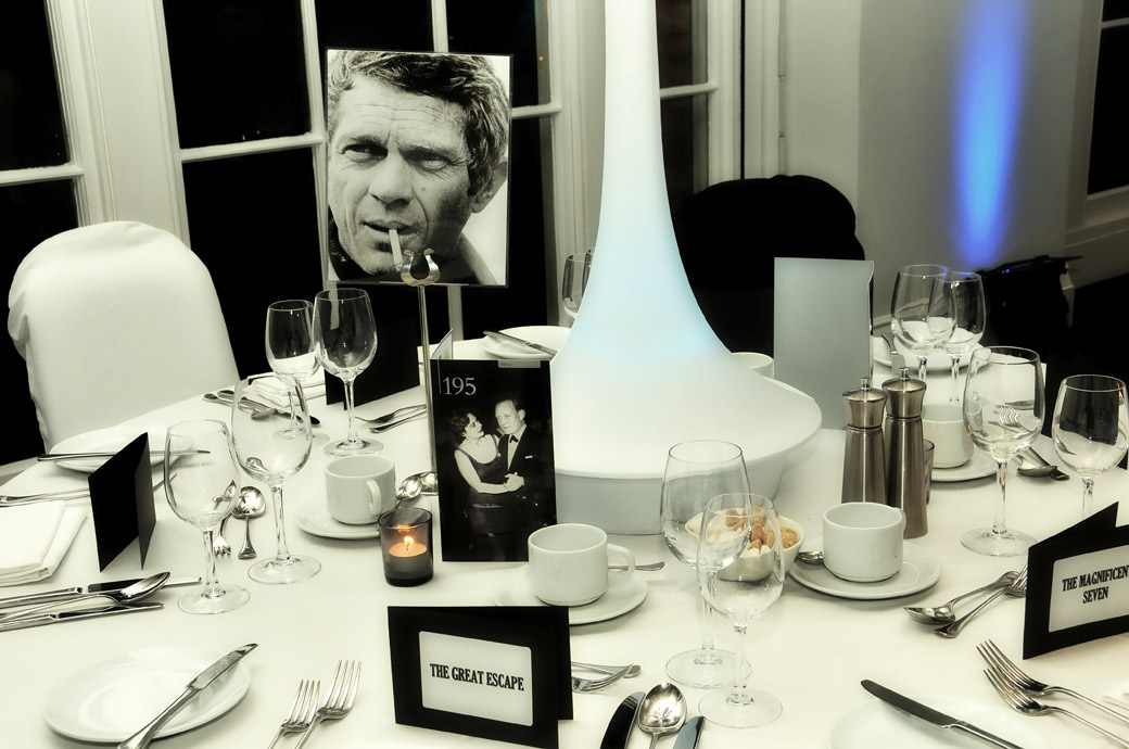 A Steve McQueen wedding breakfast table setting wedding picture captured in a David Lean Room wedding reception at the spectacular BAFTA, 195 Piccadilly London