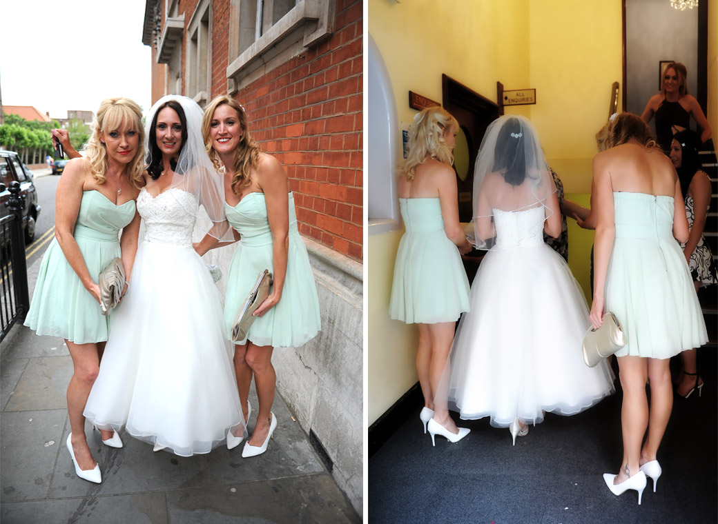 Wedding photos of the bride posing with her bridesmaids before entering the side entrance to the ever popular and world famous Chelsea Register Office wedding venue on The King's Road London