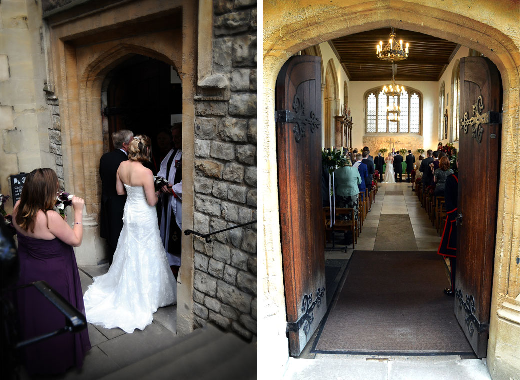 Bride and Groom entering and down the aisle wedding photographs taken in The Chapel Royal of St Peter ad Vincula at The Tower of London a unique London wedding venue