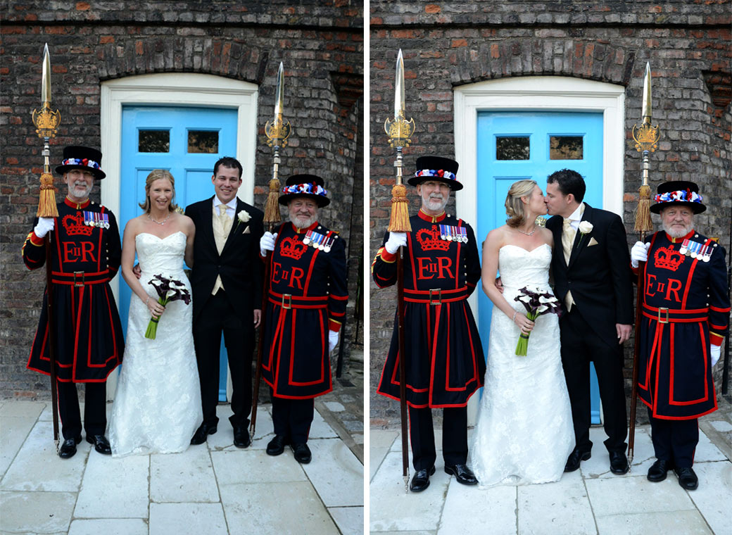 Two delightful and colourful couple flanked by Beefeaters wedding pictures captured at The Tower of London a spectacular and historic London wedding venue by The Thames