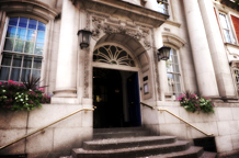 The famous entrance of Chelsea Register Office at Chelsea Old Town Hall the small but ever popular London wedding venue on the fashionable King's Road