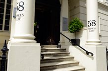 This fine classic columned portico entrance typical of buildings in this London terrace is of 58 Princes Gate terrace and a great London wedding venue for intimate receptions