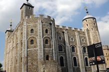 World famous and historic White Tower in this wedding photograph taken at the Tower Of London a truly exclusive once in a life-time fairy-tale London wedding venue