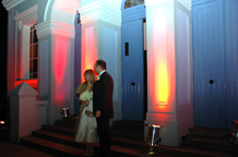 A wedding picture  of The Amadeus Centre lit up at night and originally a 19th-century Welsh Presbyterian chapel and now a popular London wedding venue based in Little Venice